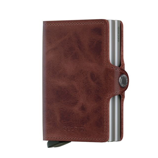 Secrid Twinwallet liten plånbok i skinn och metall