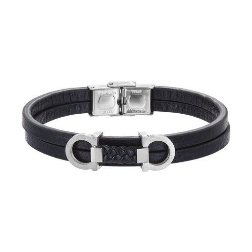 Armband stål läder