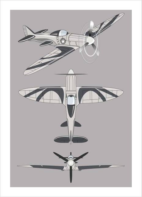 Airplane illustrated poster