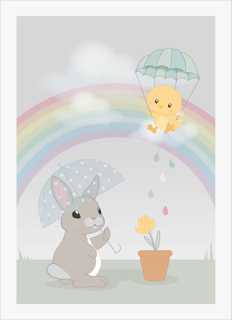 Baby bunny and baby chicken poster