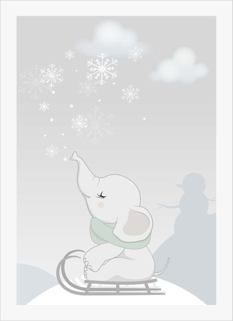 Baby elephant winter poster