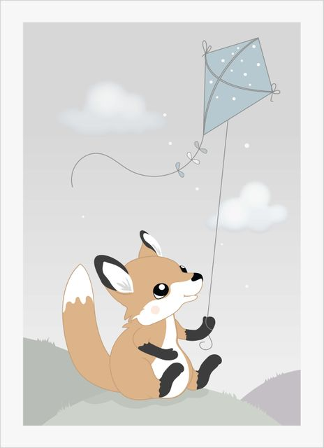 Baby fox with kite poster