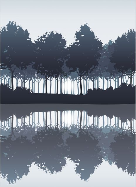 Blue trees by the lake poster