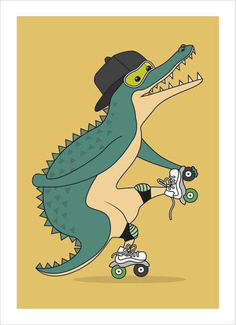 Crocodile on roller skates poster