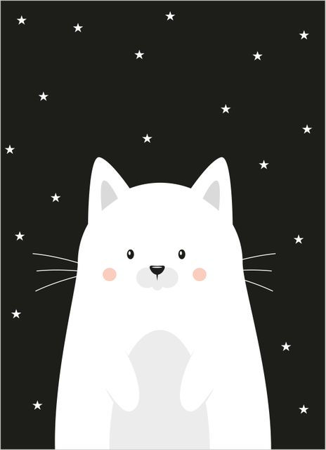 Cute white kitten poster