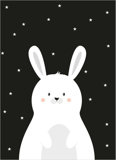 Cute white rabbit poster