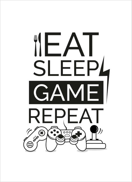 Eat sleep game repeat symbols poster