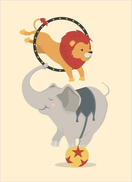 Elephant and lion at the circus poster