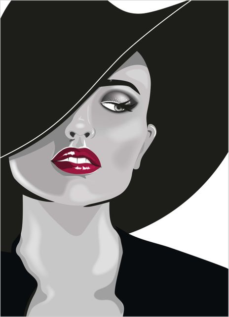 Fashion woman in hat poster