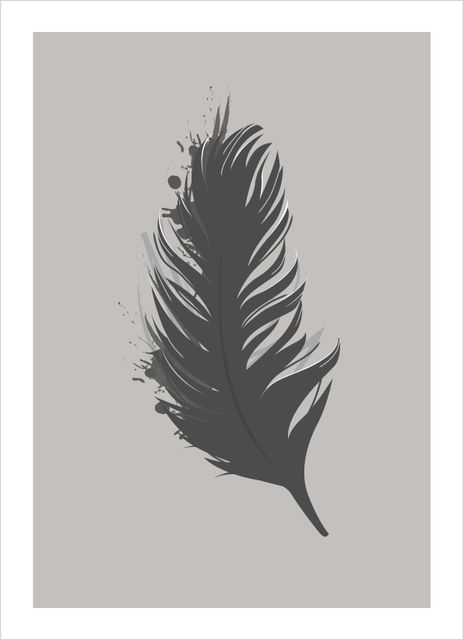 Feather black poster
