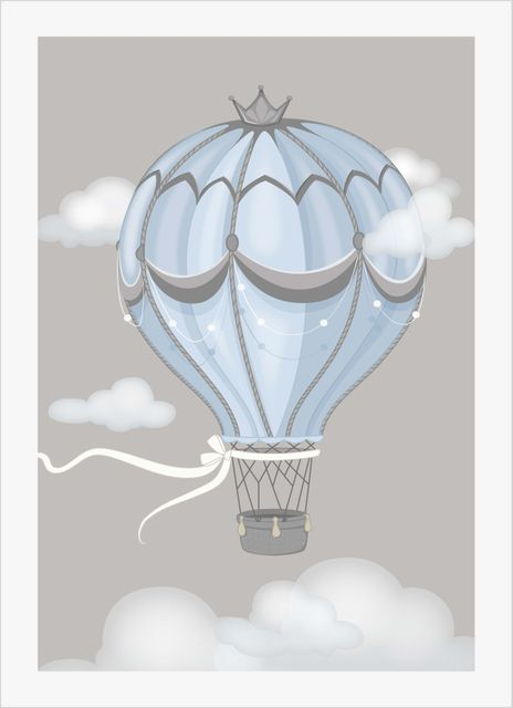 Floating air balloon blue poster