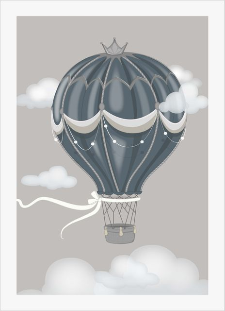 Floating air balloon grey poster