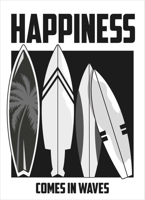 Happiness comes in waves surfboards grey text poster
