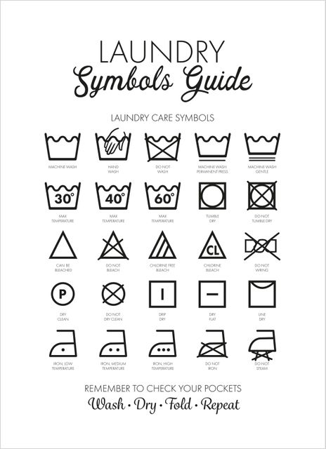 Laundry symbols guide black text