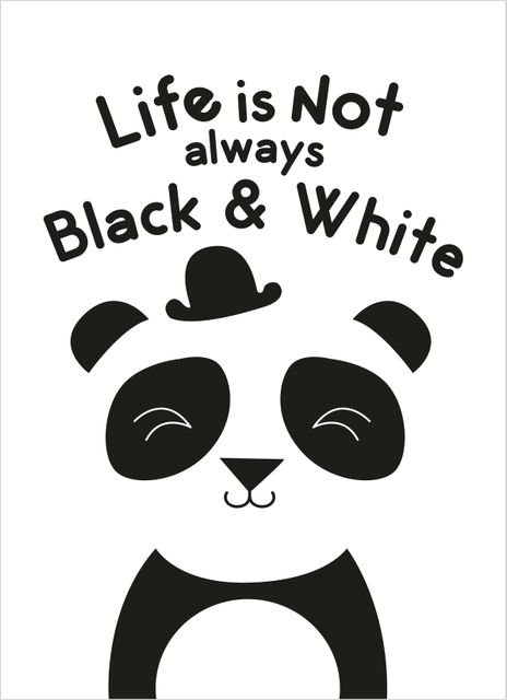 Life is not always black and white panda text poster