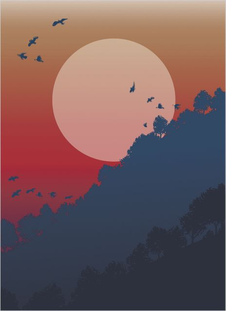Magnificent sun and treetops poster
