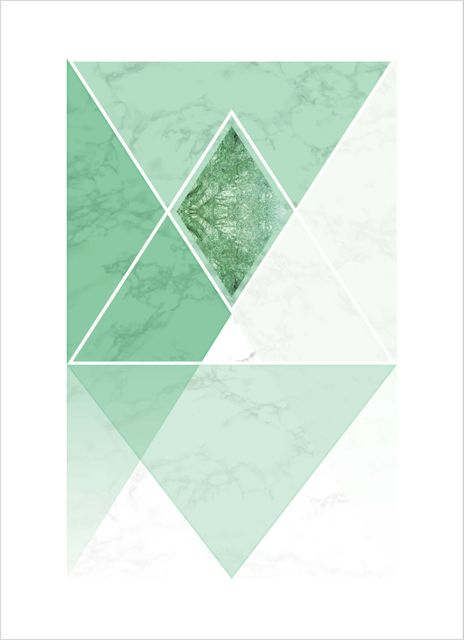 Marble triangles green poster