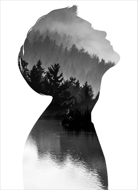 Mindfullness silhouette man poster