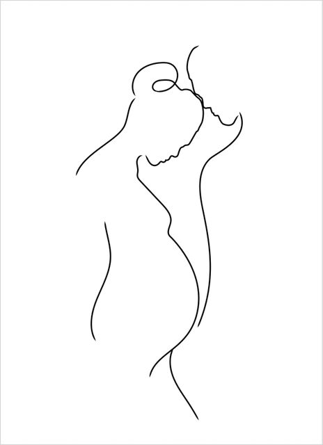Outline pregnant couple poster