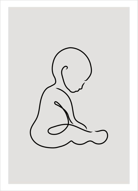 Outline sitting baby poster