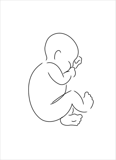 Outline sleeping baby poster