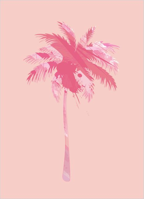 Palm tree pink pattern poster