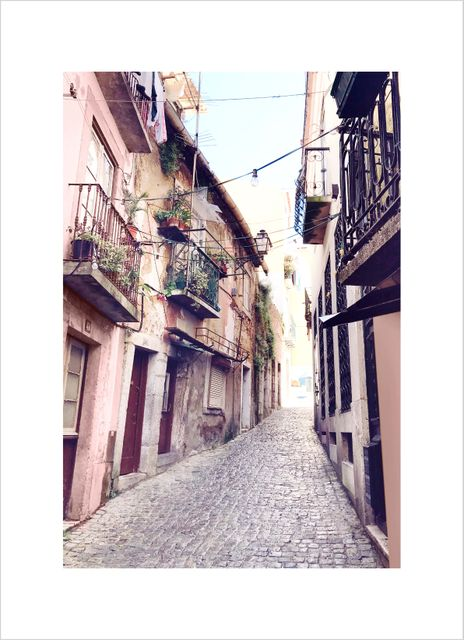 Pink narrow alley Lisboa poster