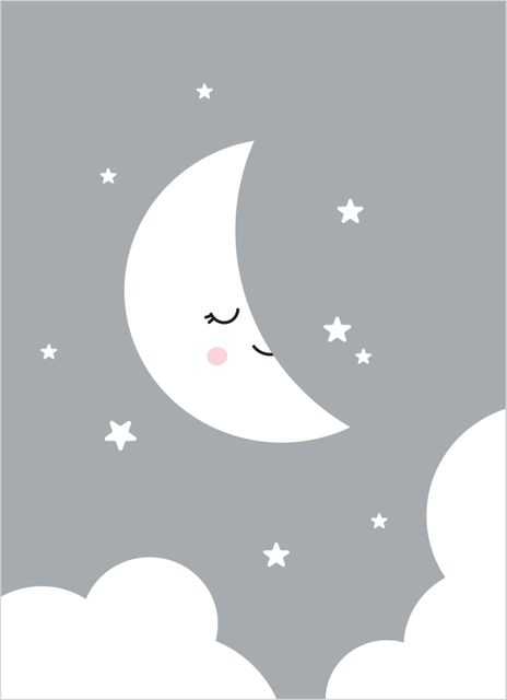 Smiling moon poster