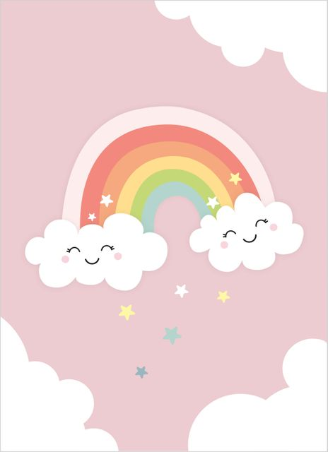 Smiling rainbow pink poster