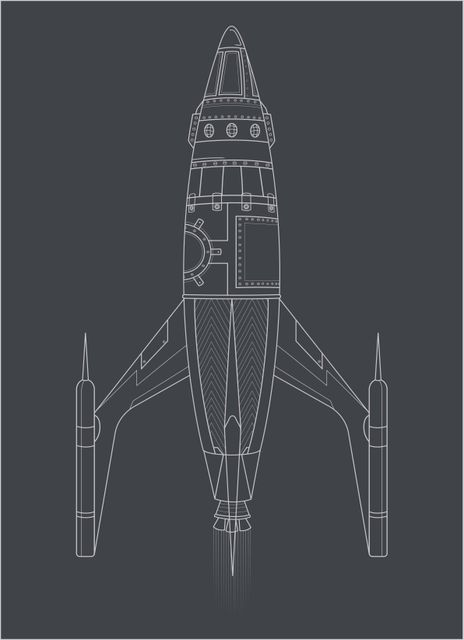 Spaceship illustrated poster