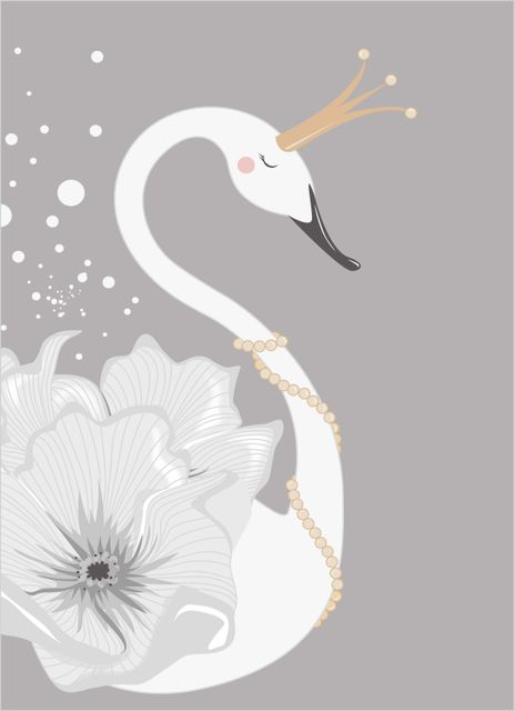 Swan with flowers poster