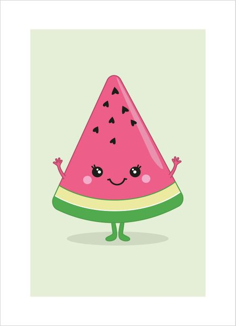 Watermelon with face poster
