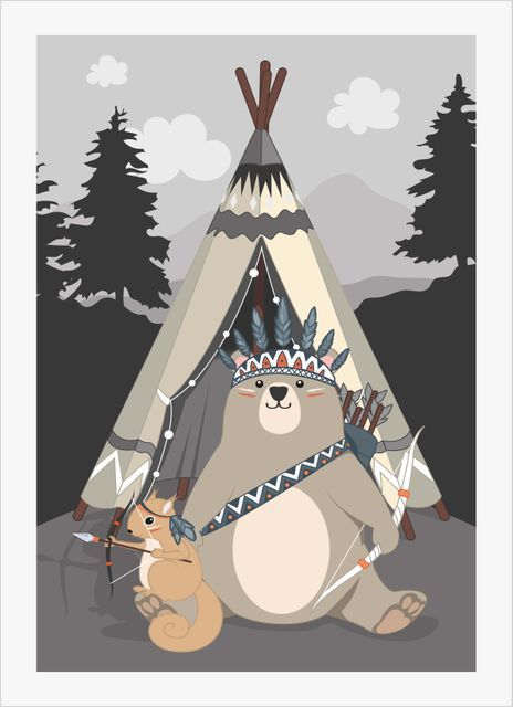 Wilderness bear and squirrel poster