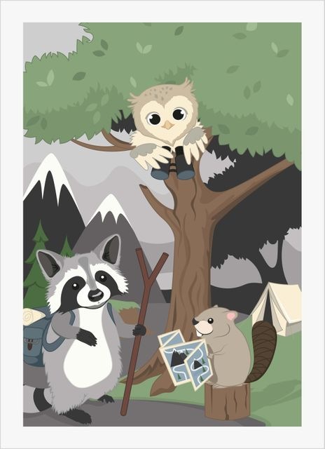 Wilderness raccoon with friends poster