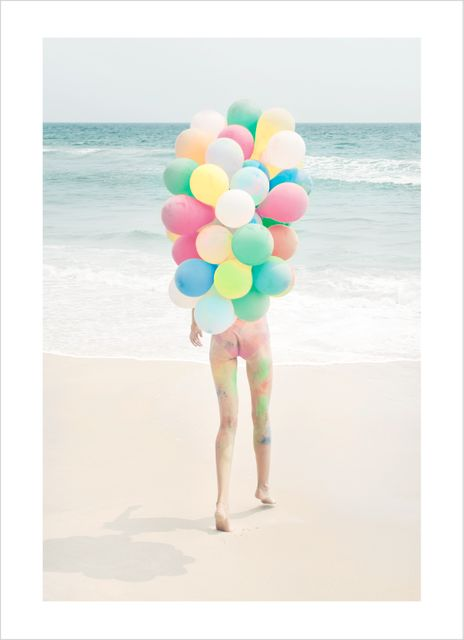 Woman beach balloon poster