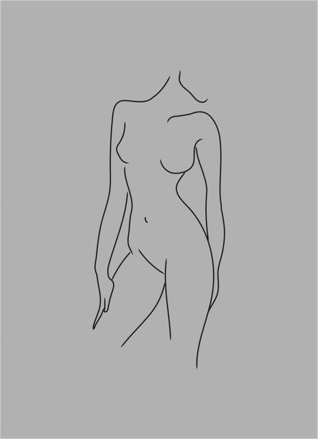 Woman body grey poster