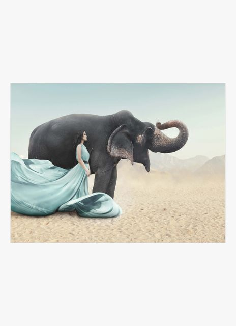 Woman with elephant poster
