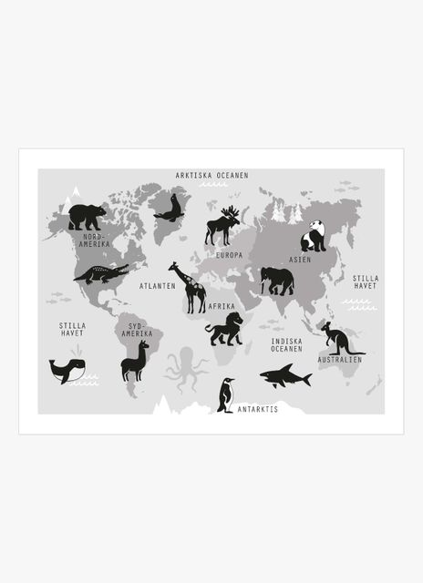 World map retro black & white poster