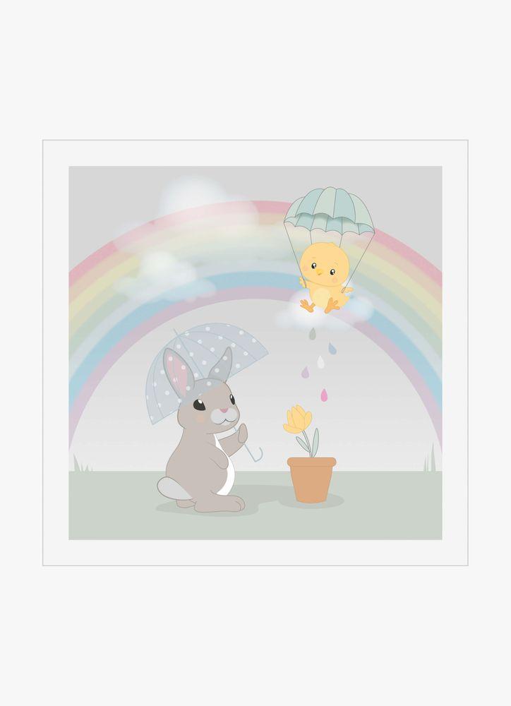 Kanin och kyckling vid regnbåge poster