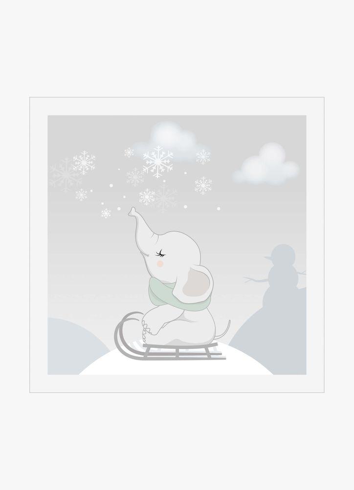Baby elefant vinter poster