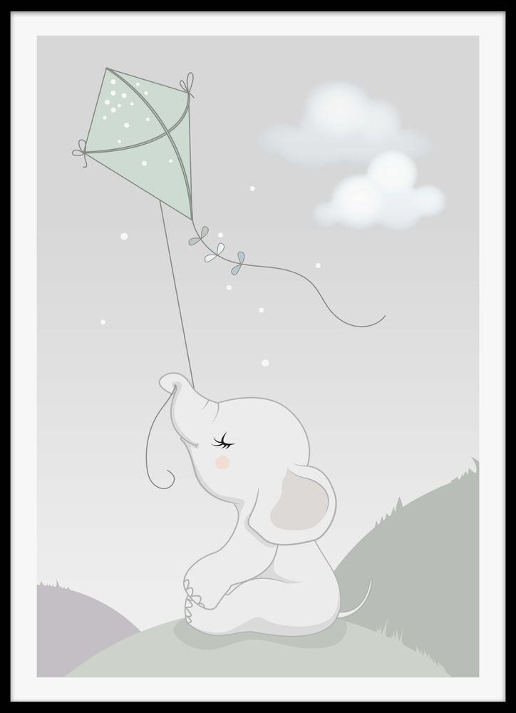 Baby elephant with kite poster
