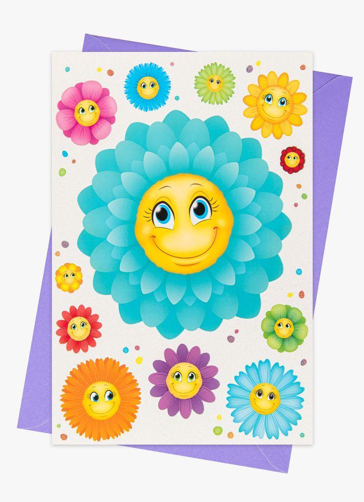 Glada blommor gratulationskort