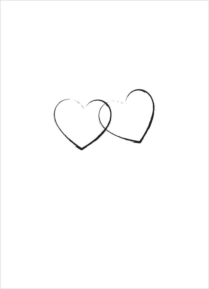 Hjärtan svart & vit poster