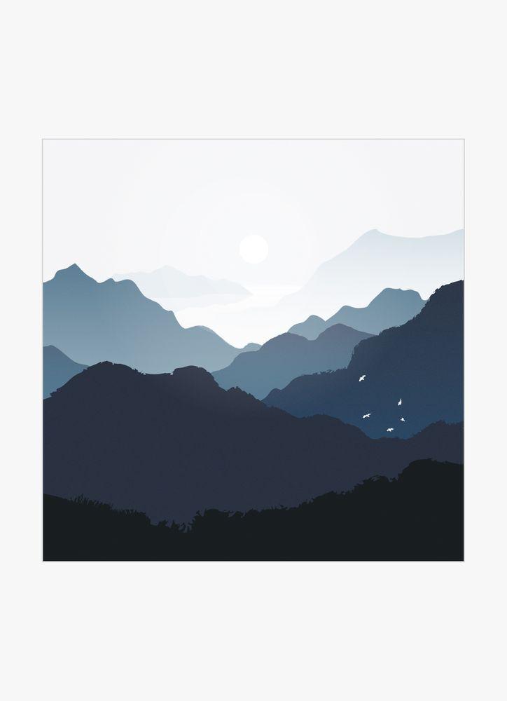 Berg blå poster