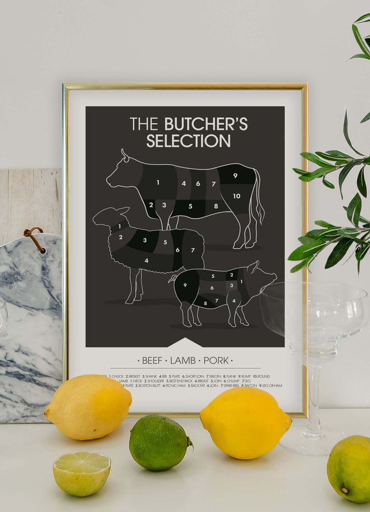 Butchers selection beef lamb pork poster