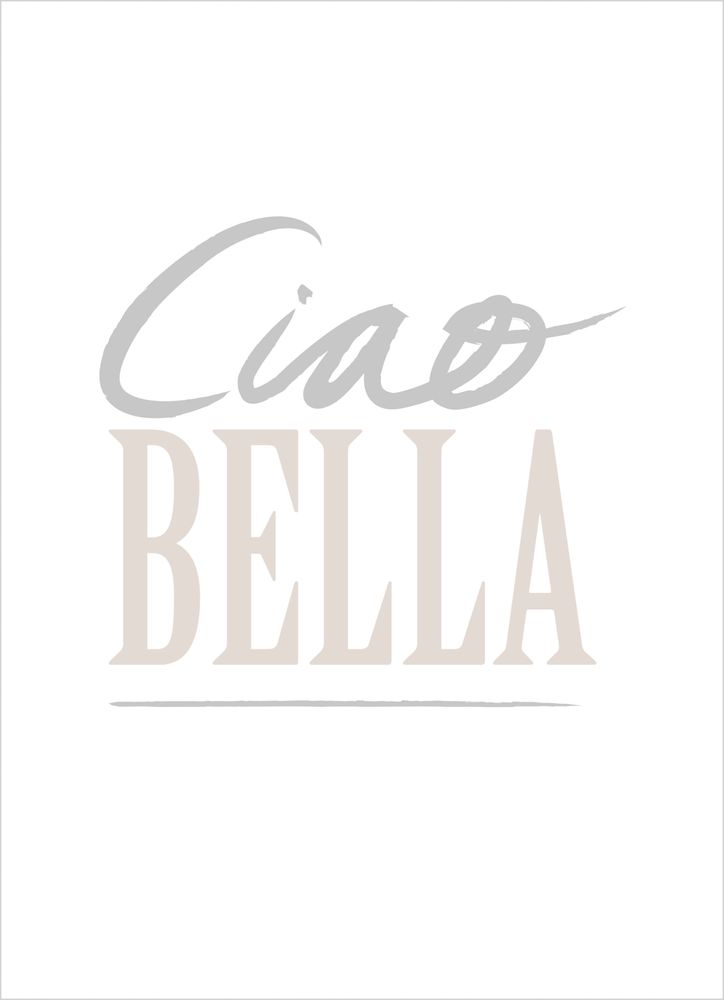 Ciao Bella grey and pink text poster
