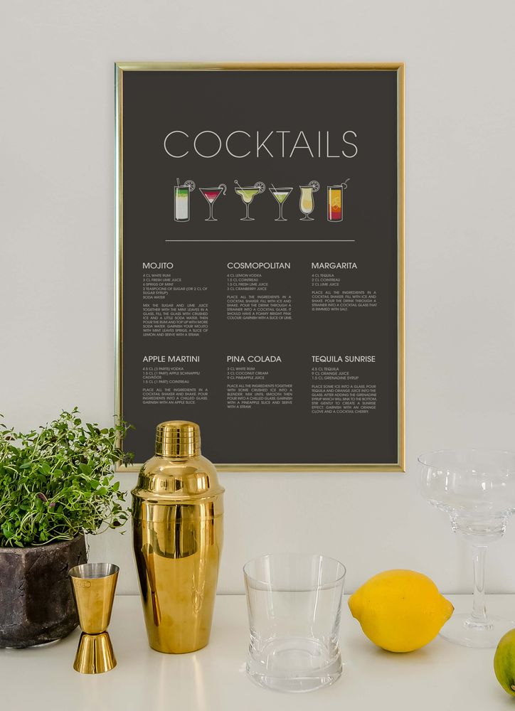 Cocktails text poster