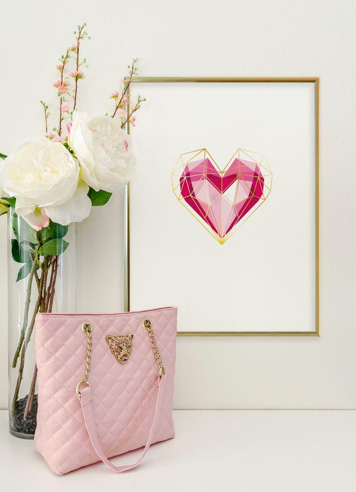 Hjärta geometriskt färg poster