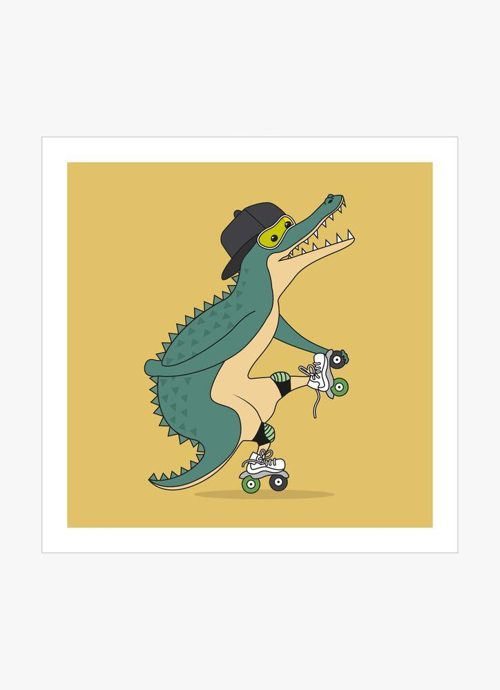Crocodile on roller skates poster