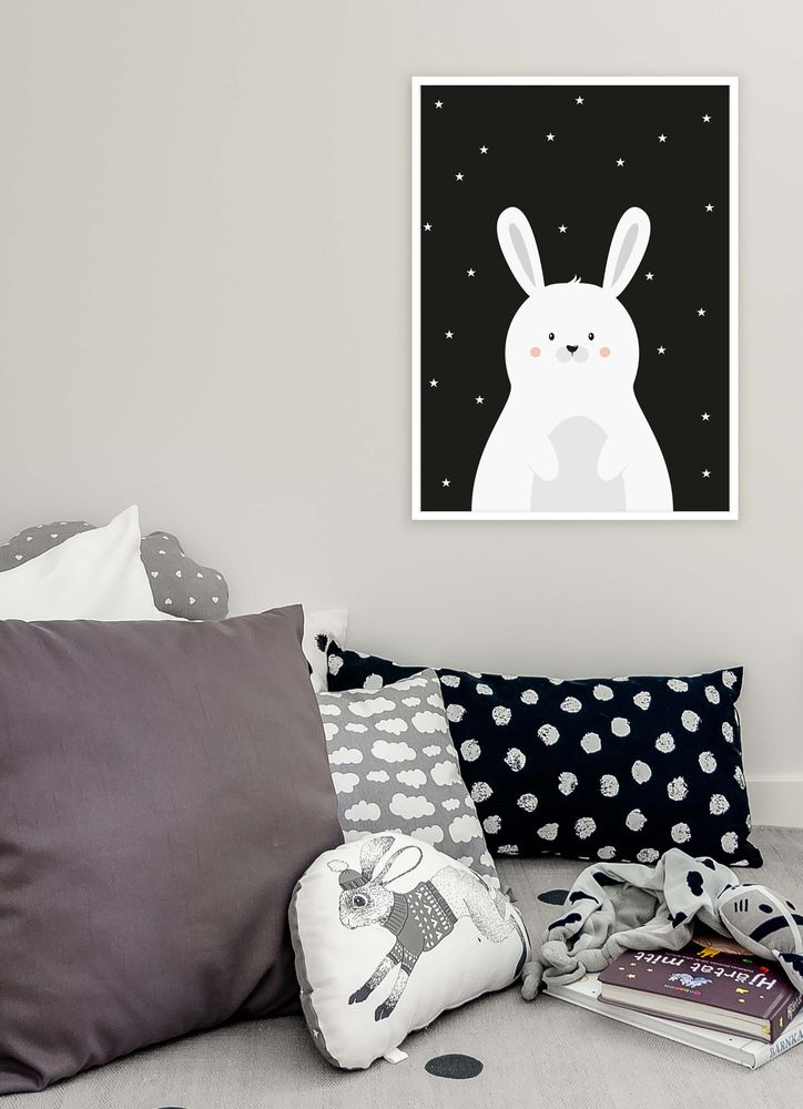 Cute white rabbit poster
